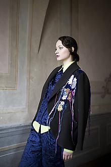 """Kabáty - ZĽAVA! Kabát s výšivkou z kolekcie """"PIZZA OR CAVIAR?"""" - 10301294_"""