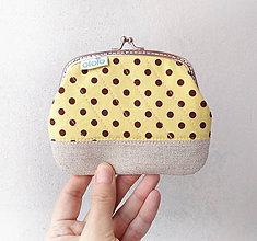 Peňaženky - Peňaženka XL Žltá s hnedými bodkami - 10300074_