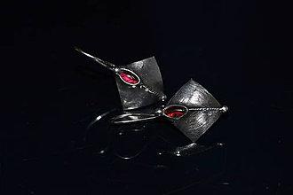 Náušnice - granátové koso - 10300855_