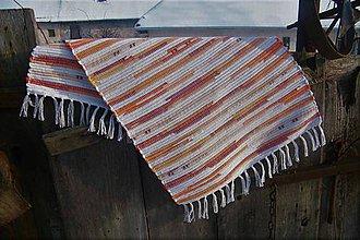 Úžitkový textil - Tkaný koberec béžovo-oranžovo-hnedý - 10302437_