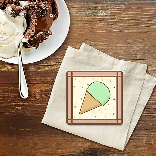 Stracciatella potlač na koláčik pistáciová zmrzlina