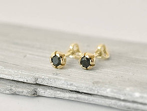 Náušnice - 14k zlaté šrubovacie náušnice s prírodným čiernym diamantom - 10304803_