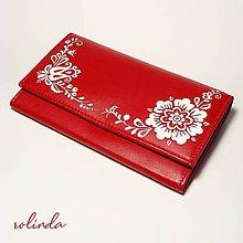 Peňaženky - Červená peněženka s květy - 10304164_