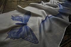Šály - Šál s modrým motýlom - 10305240_