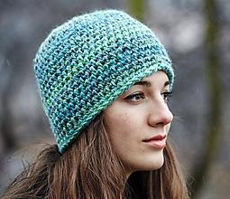 Čiapky - Zeleno-modrá čiapka - 10304863_