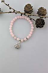 Náramky - ruženín náramok - so srdiečkom - 10306004_