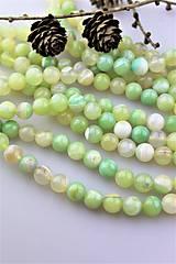 Minerály - achát zelenkavý korálky 10mm - 10306515_