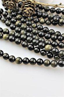 Minerály - obsidián zlatý korálky 10mm AKCIA! - 10306463_