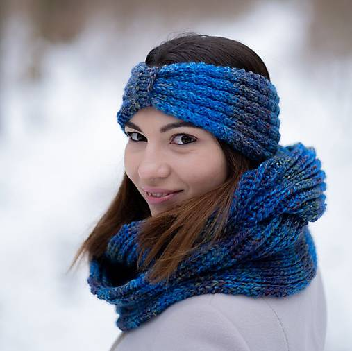 Čiapky - Čelenka modrá melírovaná - 10305865_