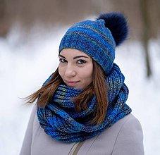 Čiapky - Modrý melírovaný set - 10305995_