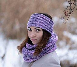 Čiapky - Set fialkový melírovaný - 10306203_