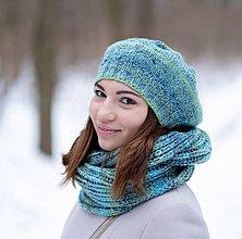 Čiapky - Set zeleno - modrý  melírovaný - 10306646_