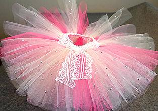 Detské oblečenie - Smotanovo ružová tutu sukňa s kamienkami - 10304709_