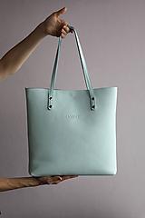 Veľké tašky - Kožená SHOPPER BAG- mentolová - 10304485_