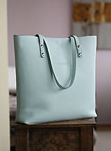 Veľké tašky - Kožená SHOPPER BAG- mentolová - 10304486_