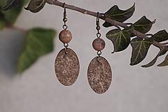 Náušnice - Minerál, drevo a brečtan - 10305464_