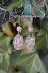 Náušnice - Minerál, drevo a brečtan - 10305472_