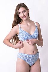 Bielizeň/Plavky - Podprsenka na dojčenie z bio bavlny GOTS - modré kvietky - 10306536_
