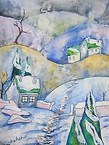 Obrazy - Zimná dedinka / Winter village - Originál - 10303527_