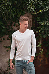 - Pánske tričko z organicej bavlny, dlhý rukáv, výstrih do V - 10304172_
