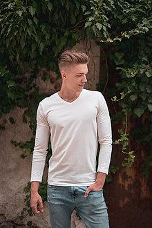 Oblečenie - Pánske tričko z organicej bavlny, dlhý rukáv, výstrih do V - 10304172_