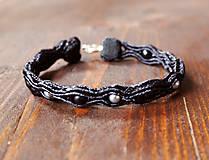 Náramky - Čierny jemný náramok - 10305120_