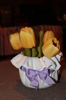 Nádoby - Romantický kvetináčik s mašličkou - 10305981_