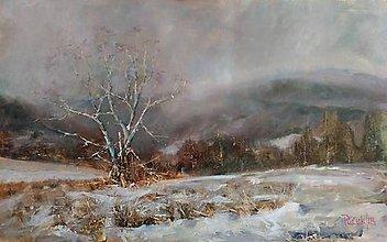 Obrazy - Osamotený v snehu. - 10306756_