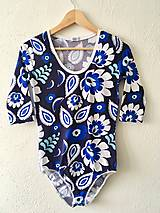 Tričká - Body-modré kvietky - 10303633_