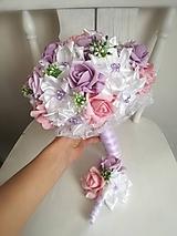 Kytice pre nevestu - Rozkvitnutá fialovo ružová - 10304283_