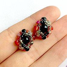 Náušnice - Red Black Orange Beaded Bracelet / Korálkové náušnice /1438 - 10309037_