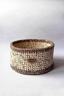 Košíky - Košík - strakatý | Hnedý | Béžový | drevený gombík | veľký - 10310241_