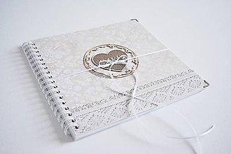 Papiernictvo - Svadobný album - béžový 24,5 x 24,5 cm - 10309452_
