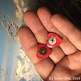 Náušnice - Červené srdiečka - 10309113_