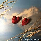 Náušnice - Červené srdiečka - 10309114_