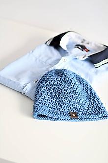 Doplnky - ...pánska čiapka 100% MERINO vlna BLUE - 10307359_