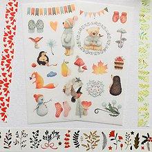Papier - papierové nálepky Čarovná zima - Zvieratká - 2 hárky - 10309787_