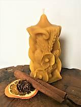 Svietidlá a sviečky - Sviečka zo 100% včelieho vosku - makové kvety - 10309062_