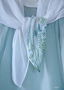 Tuniky - Ľanová blúzka + maľovaná šatka - 10310124_