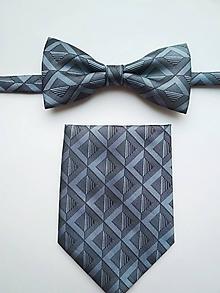 Doplnky - Motýlik šedý geometrický s vreckovkou - 10309139_