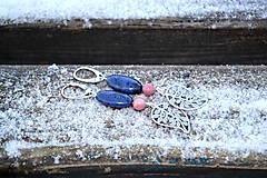 Náušnice - Zafír, Rodonit  náušnice z rhodiovaného striebra - 10307313_