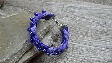 Náramky - Pletený náramok s perlami, č. 2553 - 10308390_