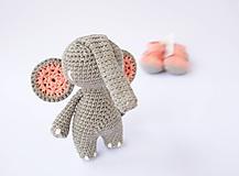 Hračky - sloník (lososovo ružové ušká) - 10309150_