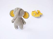 Hračky - sloník (horčicovo žlté ušká) - 10309193_