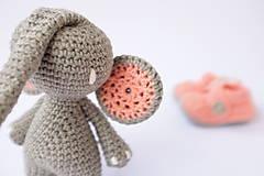 Hračky - sloník (lososovo ružové ušká) - 10309312_