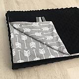 Textil - Minky deka Little Indian čierna - 10307953_