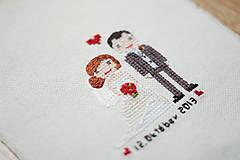 Obrázky - Vyšívaný svadobný portrét - 10308202_