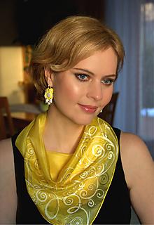 Šatky - Hodvábna žltá... - 10310281_
