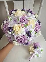 Kytice pre nevestu - Rozkvitnutá fialová - 10307456_