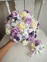 Kytice pre nevestu - Rozkvitnutá fialová - 10307461_